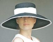 Wide Brim Hat, Wedding Hat, Black & White Hat, Church Hat, Formal Straw Hat. Audrey Hepburn Hat Ascot hat Special Occasion Hat Tea Party Hat