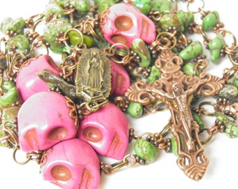 Day of the Dead Rosary Necklace, Pink Turquoise Skull Jewelry, Virgin of Guadalupe, Day of the Dead Jewelry, Halloween Jewelry, OOAK #1