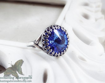 The Four Elements Series -- WATER -- Aged Silver Adjustable ring with Swarovski crystal