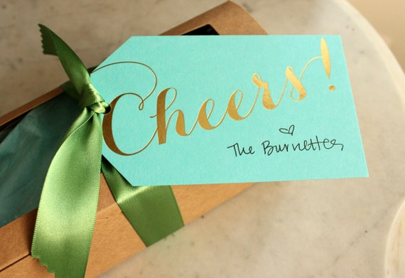 cheers gift / wine tags - gold foil (turquoise), 12 qty.