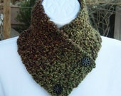 NECK WARMER SCARF Small Buttoned Cowl, Dark Green Red Brown Gold Soft Crochet Knit Winter Scarflette, Wood Buttons..Ready to Ship in 3 Days