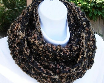 COWL SCARF Infinity Loop Black & Brown Tweed Extra Soft Crochet Knit Thick Bulky Winter Circle Wrap, Neck Warmer..Ready to Ship in 2 Days