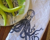 Cloth Napkins - Screen Printed Cloth Napkins - Eco Friendly Dinner Napkins - Cotton Cloth Napkins - Handmade - Nautical - Octopus - Table