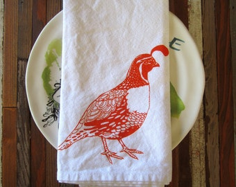 Cloth Napkins - Screen Printed Cloth Napkins - Dinner Napkins - Eco Friendly - Handmade - Quail - Table Setting - Cotton Cloth Napkins
