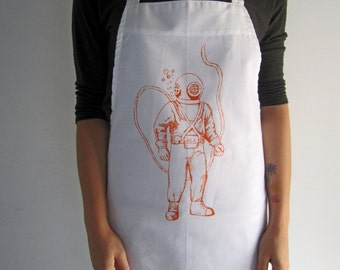 Screen Printed Cotton Apron - Natural Cotton Twill - Deep Sea Diver - Eco Friendly - Kitchen Apron - Handmade - Full Apron - Baking Apron