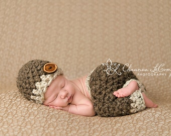 Newborn Pants and Hat Set Barley Brown Oatmeal Newborn Photography