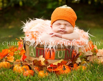 Frosted Orange Mongolian Faux Fur Rug Nest Photography Photo Prop Newborn Baby Toddler Mat
