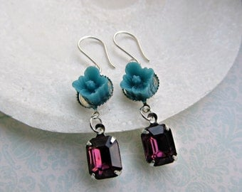 Ocean Blue Buttercup Flower and Vintage Purple Rhinestone earrings