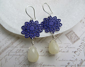 Purple Hand Painted Filigrees with Lemon Quartz Faceted Teardrops earrings, Purple and Yellow earrings