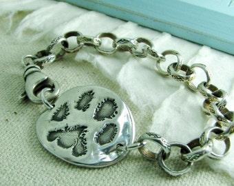 Personalized Silver Pawprint Bracelet, Artisan Handmade, Recycled Fine Silver, Chunky Fine Silver Chain