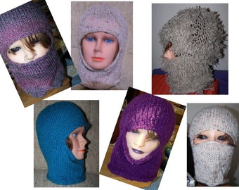 Balaclava Hand Knit Ski Mask Custom Made to Order Beanie New Cloche Hat Mohair Sparkly New