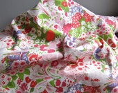 Vintage Cotton Upholstery Fabric - Pink and Green Floral by Greeff, Summertime Flower Show, Warner and Sons 1970 - One Yard