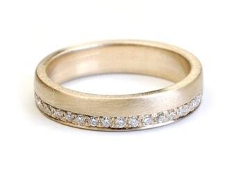 Wedding Band, Eternity Band, Gold and Diamond Wedding Band, Modern Contemporary Wedding Band, Diamond Ring, Gold Diamond Ring, Nixin