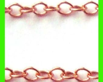 1.7mm x 1.5mm link 14k Rose Gold Filled Cable loose Chain by foot 5 feet rch01