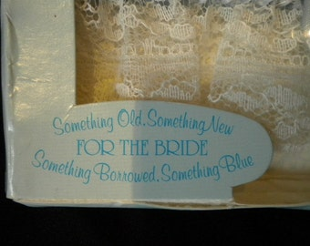 x Vintage NEW in Box Ribbon Work Wedding Hanky, Something Old, Something New, Something Blue (FF14)