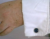 Vintage 1950s Blue Glass Cabochone and Chrome Old Store Stock Cuff Links
