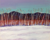 winter landscape painting, birch trees in winter, framed, FREE SHIPPING in US only