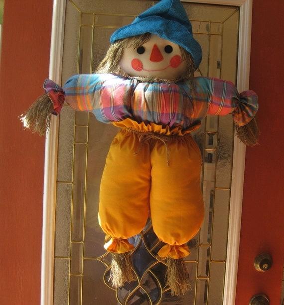 Fall or Halloween Door Hanging Scarecrow Handmade ~ 230255_Halloween Door Hanging