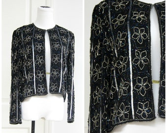 80s Black Sequin Beaded Blouse Floral Jacket Small Medium Silk 80s does 20s