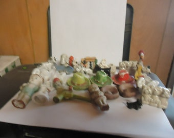 Vintage lot of 27 Made in Japan Porcelain figurines, DAMAGED LOT, collectable, dogs, people and more