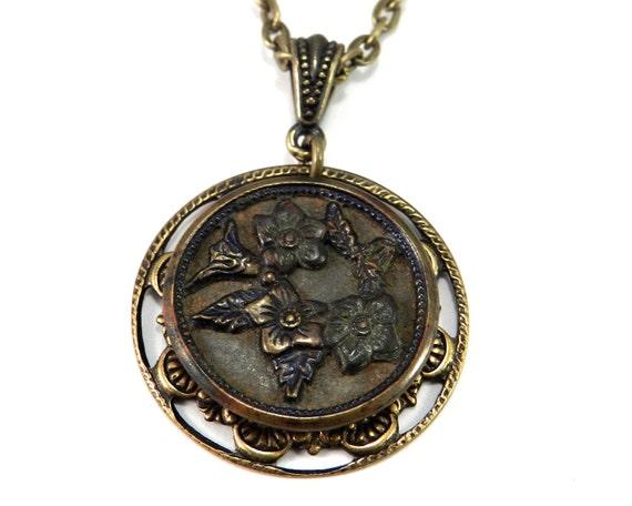 VICTORIAN Jewelry, Antique BUTTON Jewelry, Victorian Button Pendant, Blossom Design Steampunk Victorian Jewelry by Compass Rose Design