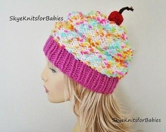 Women Cupcake Hat, Cupcake Beanie