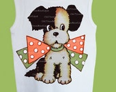 Puppy dog, Retro Big Bow Puppy, One Piece Baby, Baby or Toddler Tank, Infant tshirt, retro dog No Bow, by ChiTownBoutique.etsy