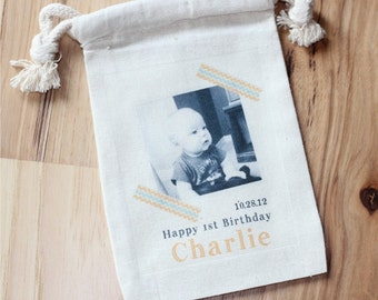 Personalized bag with image Set of 10 - photograph - birthday - memorial - wedding - custom design with your image -