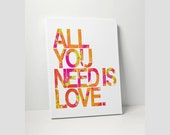 STRETCHED CANVAS: All You Need Is Love Beatles Lyrics Song Art