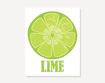 Kitchen Art: Vintage Look Lime Slice Art Print Illustration Wall Decor
