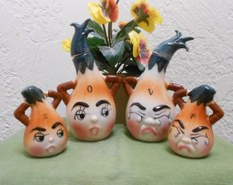 Anthropomorphic Holt Howard-Like Oil And Vinegar Cruets w/ S&P Shakers- Crying Onion Salad Dressing Bottle Set