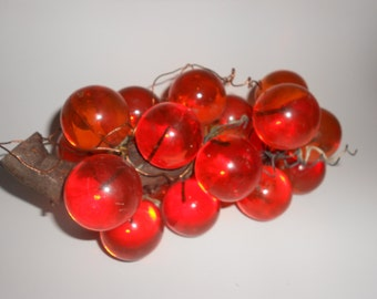 Orange Grapes Retro Lucite Cluster Eames Era MCM -Gorgeous Vintage 60s Decorator Item
