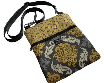 Damask Lattice Geometric Gray Yellow Off White Ivory Fabric Ipad Kindle Nook Sling Passport Bag Messenger Small Purse Cross Body Washable