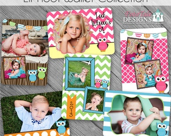 INSTANT DOWNLOAD - Lil' Hoot Wallet Template Collection- Set of 6 custom photo templates for photographers