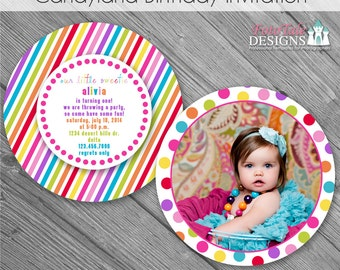 INSTANT DOWNLOAD - CandyLand Birthday Invitation- custom photo templates for photographers on MPixPro