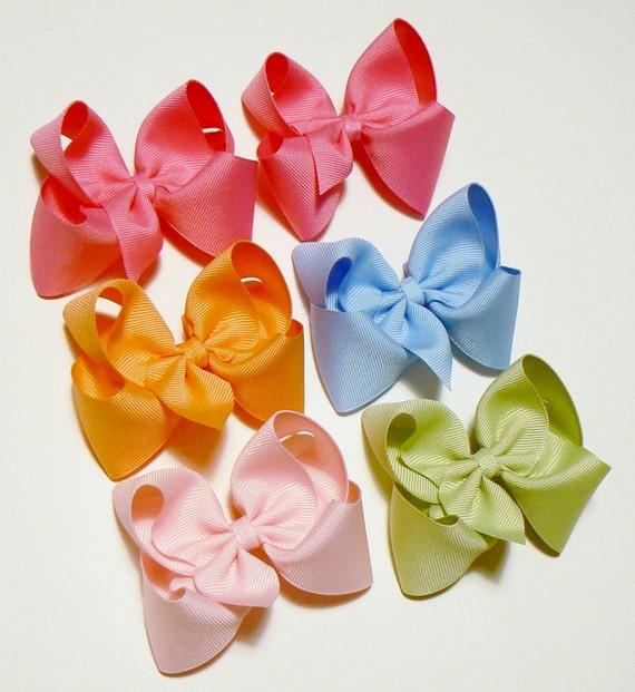 Girls Hair Bow Set Medium Girls Hair Bows Kids Hair Bows Hair Clip Hairbows Hair accessories for Kids (Set of 6)