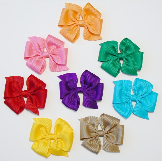 Little Girls Hair Bow Set  Small Toddler Childrens Kids Boutique  Fashion Hair Clip Hairbows Hair Accessories (Set of 8) Choose Colors