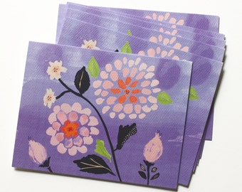 Notecard Set - Set of 6 Blank Cards - Dahlia Watercolor Design