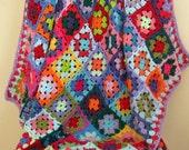 Crochet Afghan Blanket Rainbow CAROUSEL Granny Squares Bright Throw