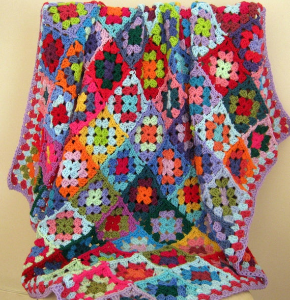 Crochet Afghan Blanket Rainbow CAROUSEL Granny Squares Bright Throw