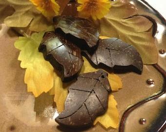 Fall Leaves - Coconut Shell - Dark Chocolate - Leaf Pendants