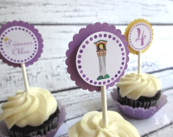 Rapunzel Princess Custom Cupcake Toppers - Let Down Your Hair Collection