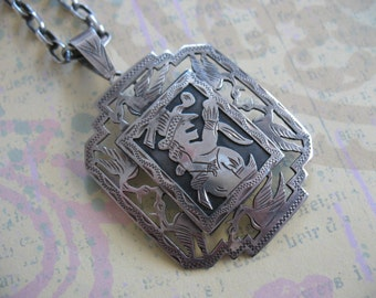 SALE Rare Mayan Style Silver Medallion Necklace