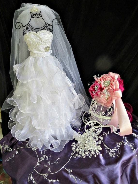 Bridal shower centerpiece shower wedding dress reception for Wedding dress vase centerpiece