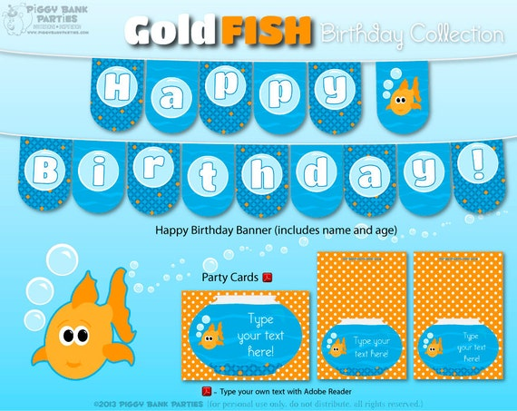 GOLDFISH Birthday Collection : DIY Printable Fish Decorations - Ocean or Under the Sea Party