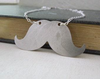 Mustache Necklace - Ox Antiqued Silver Brass Mustache Pendant Necklace Silver Chain
