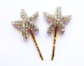 Rhinestone Starfish Bobby Pins Bridal Hair Clips Crystal Bridesmaid Gifts Nautical Mermaid Ariel Destination Beach Theme Wedding Accessories