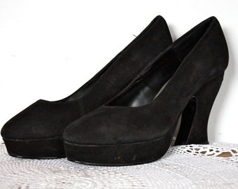Vintage 1940's Style Suede Platform Heels // Avant Garde 1980's / 1990's