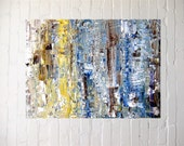 """Abstract mosaic, acrylic on canvas, home office decor, 12"""" x 16"""", blue, teal, lemon, browns, accent piece, gift idea"""