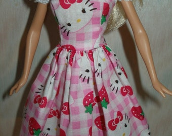 """Handmade 11.5"""" fashion doll clothes - pink and white dress"""